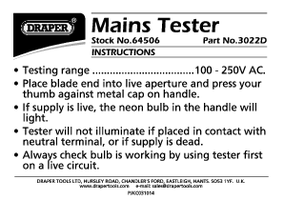 Instruction Manual for Draper 140mm Mains Tester 64506 (3022D)