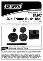 Instruction Manual for Draper Bmw Rear Sub-frame Bush Removal Tool 64630 (Ssk9)