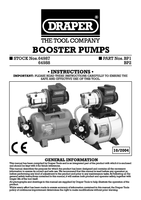 Instruction Manual for Draper 55l/min (Max) 800w 230v Booster Pump 64987 Bp1