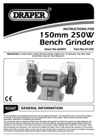 Instruction Manual for Draper 150mm 230v Bench Grinder 66804 G150c