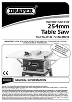 Instruction Manual for Draper 254mm 1500w 230v Table Saw 69122 Bts252