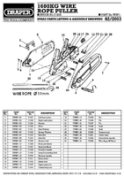 Parts List for Draper Expert Exp Qual 1600/2400kg Wire Rope Winch/hoist 71208 Wrp1