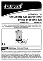Instruction Manual for Draper Expert Pneumatic Oil Extraction/brake Bleeding Kit 73291 Oe1