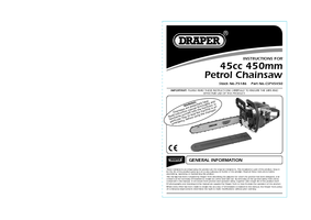 Instruction Manual for Draper Expert 45cc 450mm Petrol Chainsaw With Oregon® Chain And Bar 75186 (Csp45450)