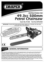 Instruction Manual for Draper Expert 52Cc 450mm Petrol Chainsaw With Oregon® Chain And Bar 75188 (Csp52500)