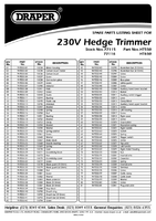 Parts List for Draper 600w 230v 600mm Hedge Trimmer 77116 HT650