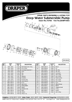 Parts List for Draper 230v 95l/min Sub Deep Water Well Pump With 36m Lift & Float Switch 78780 Dswp1000