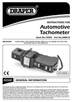Instruction Manual for Draper Automotive Tachometer 79005 Dmm18