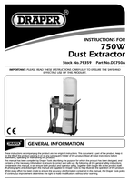 Instruction Manual for Draper 750w 230v Portable Dust/chip Extractor 79359 (De750a)