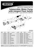 Parts List for Draper 195l/min (Max.) 600w 230v Submersible Water Pump With Integral Float Switch 87962 Swp195ifs