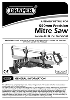Instruction Manual for Draper 550mm Precision Mitre Saw 88192 Pms/550