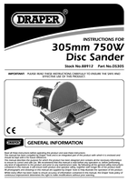 Instruction Manual for Draper Disc Sander 230v 750w 88912