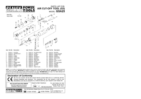 Parts List for Sealey GSA25 Air Cut-Off Tool