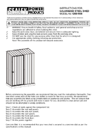 Instruction Manual for Sealey Gss1508 Galvanized Steel Shed 1.5 X 0.8 X 1.9mtr
