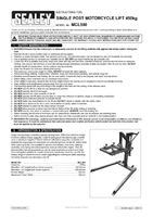 Instruction Manual for Sealey Mcl500 Single Post Motorcycle Lift 450kg Capacity