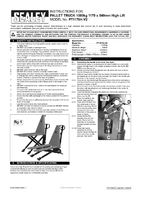 Instruction Manual for Sealey PT1170H Pallet Truck 1000kg 1170 x 540mm High Lift