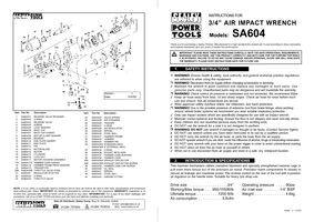 Parts List for Sealey SA604 Air Impact Wrench 3/4