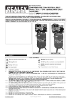 Instruction Manual for Sealey Sacv42755b Compressor 270ltr Vertical Belt Drive 5.5hp 3ph 2-stage With Cast Cylinders