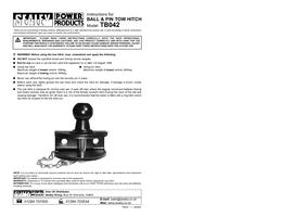 Instruction Manual for Sealey TB042 Tow Ball & Pin Coupling 50mm