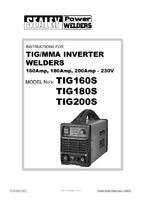 Instruction Manual for Sealey Tig160s Tig/mma Inverter Welder 160amp 230v