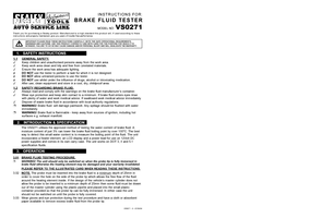 Instruction Manual for Sealey VS0271 Brake Fluid Tester Boil Test